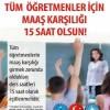 Maaş Karşılığı Dersler 15 saate Eşitlenmelidir-DİLEKÇE KAMPANYASI